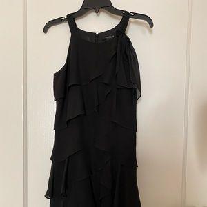 White and Black layered ruffle dress